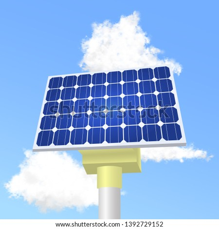 Solar panels in vector. Solar panels reflect the sun and clouds. Realistic solar panels for flyers, invitation, posters, brochure, banners, calendar.