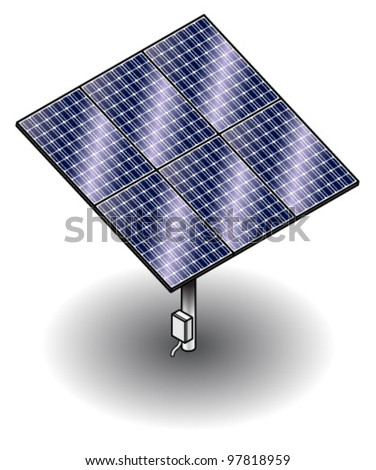 Solar panels mounted on a stand - part of a solar farm installation.
