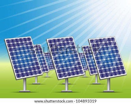 Solar panels on green field. Editable vector illustration.