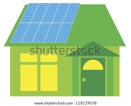 Solar Panels on Roof of Go Green House Illustration Isolated on White Background Vector