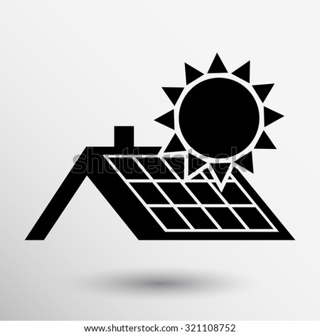 solar panels roof icon vector
