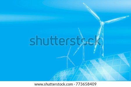 Solar panels windmills turbine generating electricity. Green ecology saving environment. Renewable power low poly polygonal geonetric blue sky design vector illustration