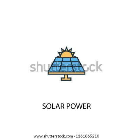Solar Power concept 2 colored line icon. Simple yellow and blue element illustration. Solar Power concept outline symbol design from green energy set