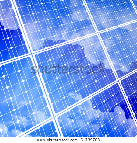 solar power panel & blue sky - stock vector