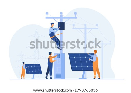 Solar power plant maintenance. Utility workers repairing electric installations, boxes on towers under power lines. For electric network operation, city service, renewable energy topics