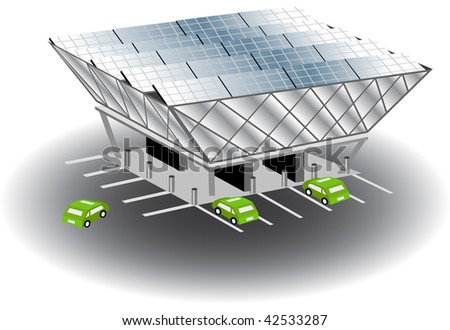 Solar recharging station isolated on a white background.