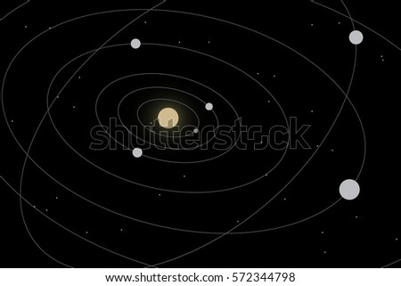 Stock Photo solar system.Abstract vector illustration with Sun and planets
