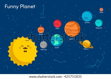 Solar system background with sun and planets on orbit vector