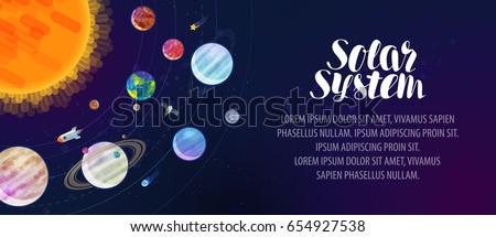 Solar system, banner. Space, sun, planets, comets, stars and constellations concept. Vector illustration