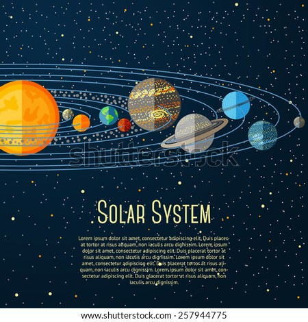 solar system banner with sun