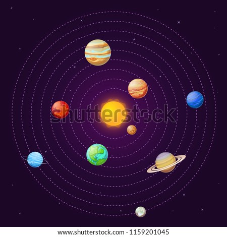 Solar system. Cartoon sun and planets on starry sky. Sun satellite systems universe uranus neptune mercury pluto venus jupiter mars planet galaxy school astronomy planetary education vector background