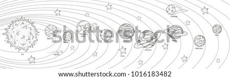 solar system doodle line