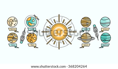 solar system icon flat design