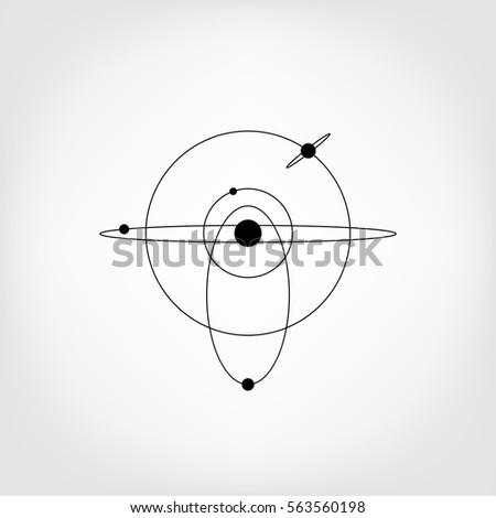 Solar system icon. planetary model