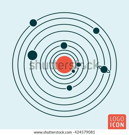 Solar system icon. Vector illustration