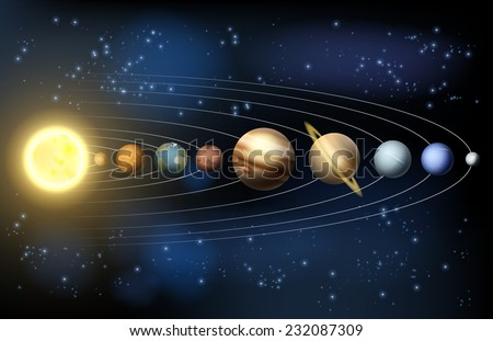 solar system illustration of