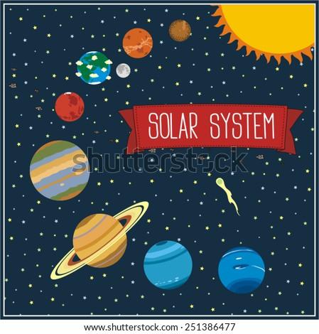 solar system illustration with