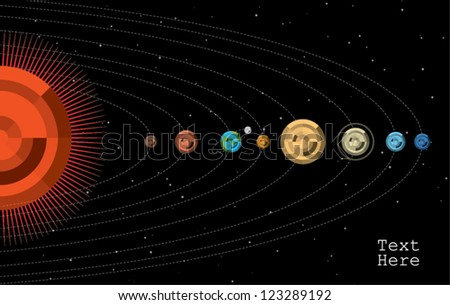 solar system in chart info graphic
