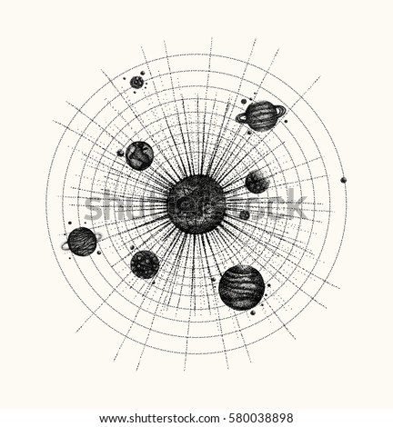 solar system in dotwork style
