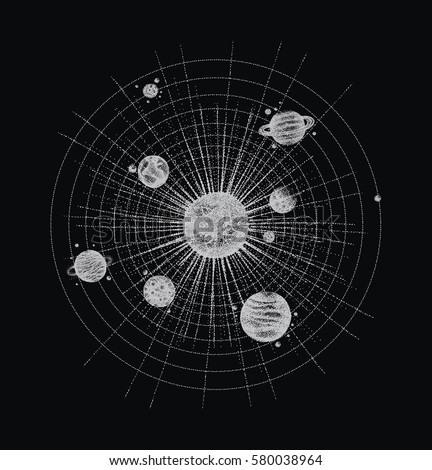 Stock Photo solar system in dotwork style. planets in orbit. vintage hand drawn illustration.