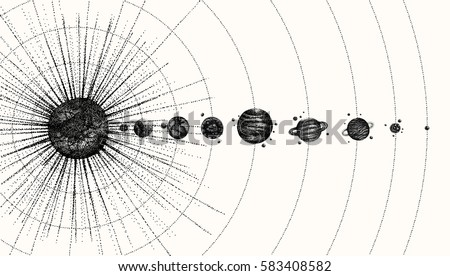solar system in dotwork style....