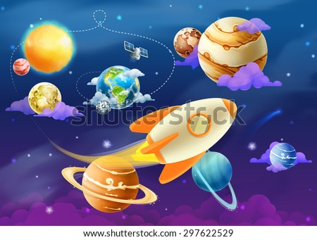 solar system of planets  vector