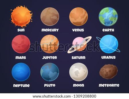Solar system planets. Cartoon mercury and venus, earth and mars, jupiter and saturn, uranus and neptune. Astronomy vector set