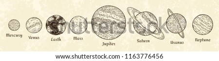 Solar system planets engraving. Hand drawn celestial planet parade astronomy universe sketch drawing old black tattoo dotwork space texture or engrave. Vintage planetary esoteric vector illustration