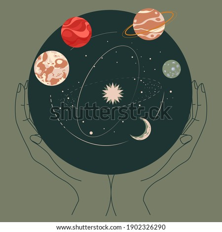 Solar system planets floating on orbits in outer space. Constellations and astronomy. Hands holding celestial body united in bauble or ball. Night sky. Cosmos and universe, vector in flat style