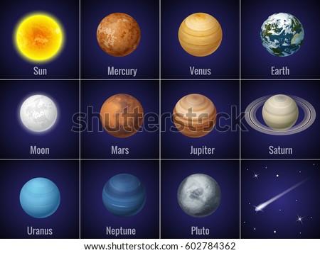 solar system planets on  black