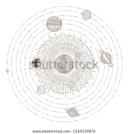 Solar system planets orbits. Hand drawn sketch planet earth orbit around sun, astrology circle universe. Astronomy satellite vintage orbital planetary galaxy vintage vector illustration