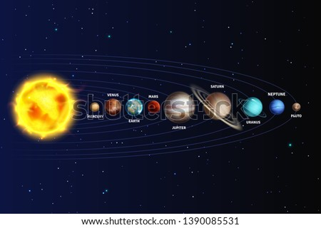Solar system. Realistic planets space galaxy universe sun jupiter saturn mercury neptune venus uranus pluto star orbit 3d vector astronomy set