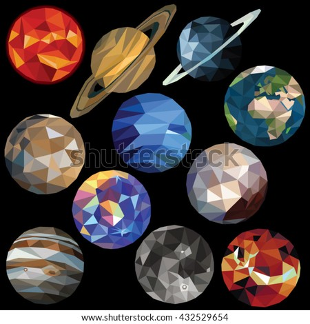 solar system set colorful low