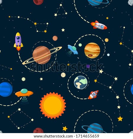 solar system vector kids cartoon planet seamless pattern. Rocket, UFO, planets Illustration, great for wallpaper, textile and texture design. Kids design, fabric, wrapping, apparel.