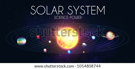 Solar System with Elegant Realistic Planets and Shining Sun. Dyagram Design. Vector illustration