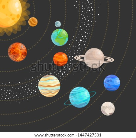 Solar system with isolated planets. Vector flat illustration.