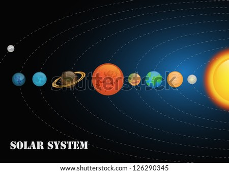 Solar System With Planets Around Sun - Vector illustration, Graphic Design Editable For Your Design