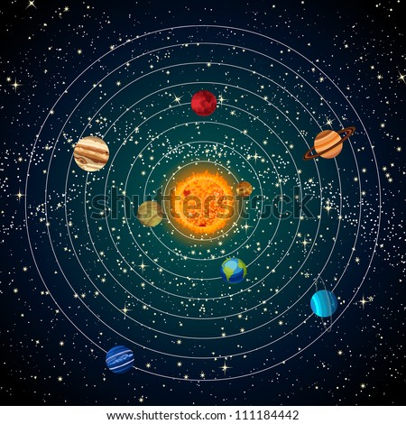 solar system with sun  planets