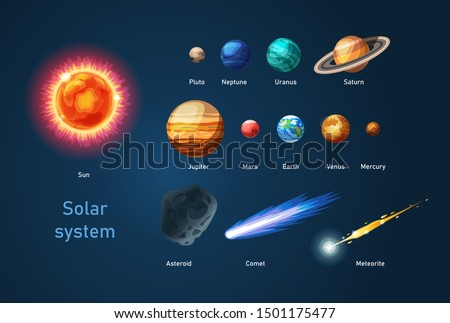Solar system with sun, planets comets asteroid meteorite. Our galaxy with planets Earth, Jupiter, Saturn, Pluto, Venus, Mercury, Neptune, Mars, Uranus. Cartoon space objects vector illustration