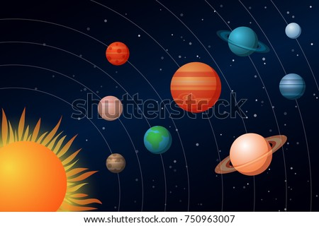 Solar System with the Sun and Planets. Vector Illustration. Flat Style. Graphic Design for Education Classes and Study Books. Decorative Planetarium Design - Flayers, Banners, Posters, Cards.
