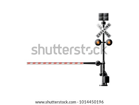 Solar traffic light, Railway barriers close isolated on white background, design concept for start up, business solutions,development and innovation, creativity, icon, vector,eps10