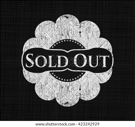 Sold Out chalkboard emblem on black board