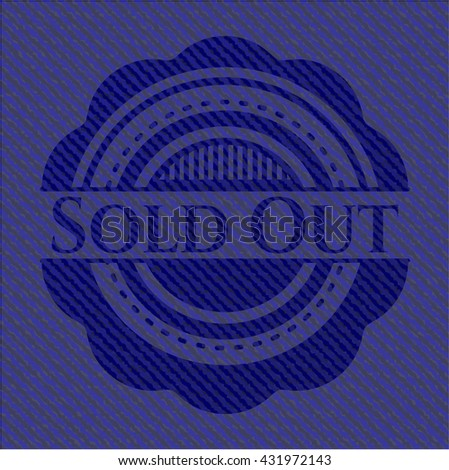 Sold Out jean or denim emblem or badge background