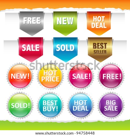 Sold Stickers And Ribbons, Isolated On White Background, Vector Illustration