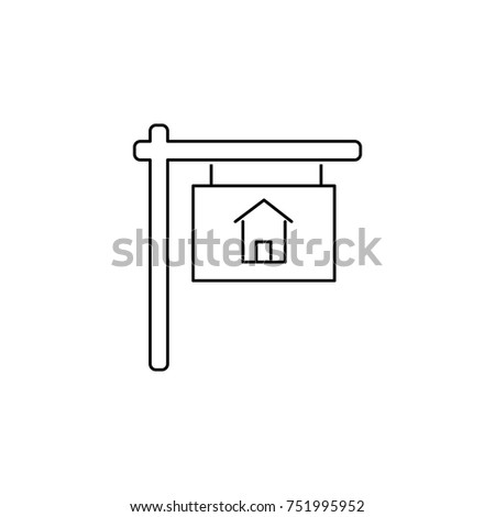 Sold vector icon, house sold out symbol. Real estate element. Premium quality graphic design. Signs, outline symbols collection, simple thin line icon for websites, web design on white background