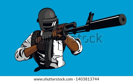soldier aiming with a gun. Helmet weapon battle pubg. Isolated vector illustration. Man on battleground