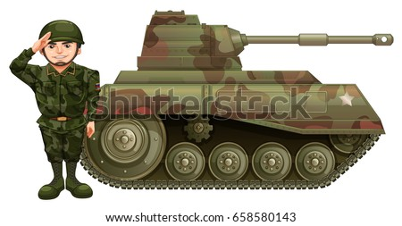 soldier and military tank