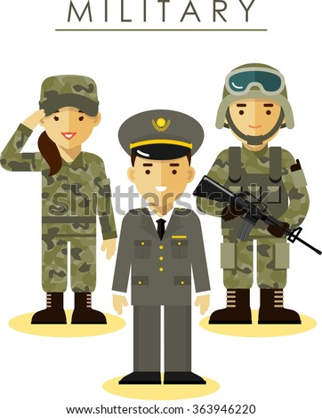 Soldier and officer man and woman in different military camouflage uniform in flat style isolated on white background