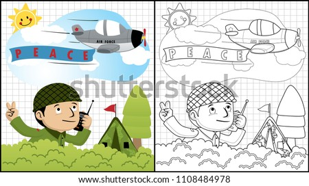soldier cartoon with jet