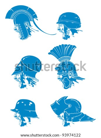 Soldier cry. Types of hats 1, vector